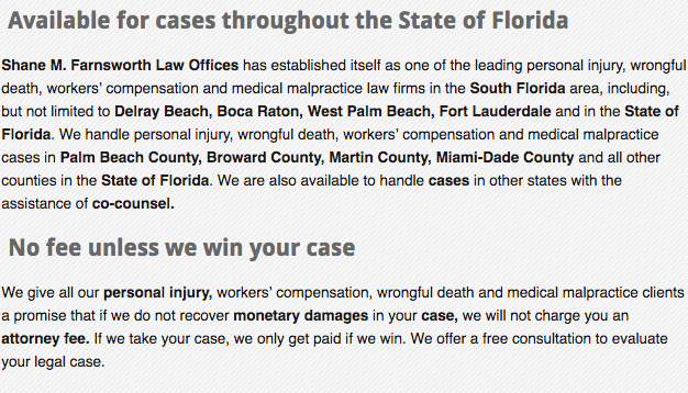 Available for cases throughout the State of Florida